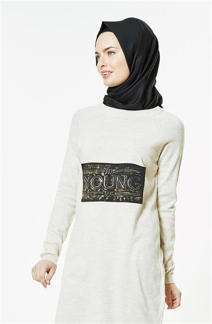Pilise Knitwear Tunic-Beige 15022-11