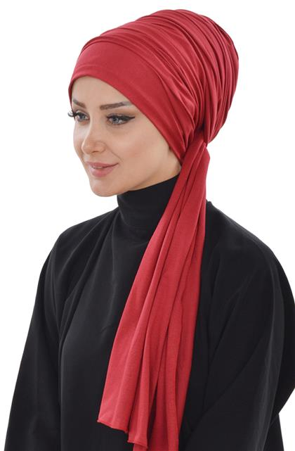 Ayşe TaYellowm Bone Shawl-Claret Red Bt-0001-3
