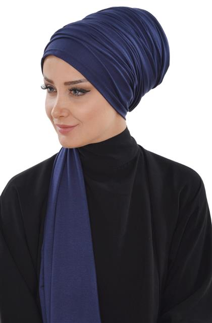 Ayşe TaYellowm Bone Shawl-Navy Blue Bt-0001-1