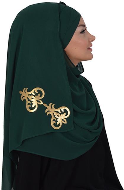 Ayşe TaYellowm Shawl-Emerald Greeni Cps-0003-12