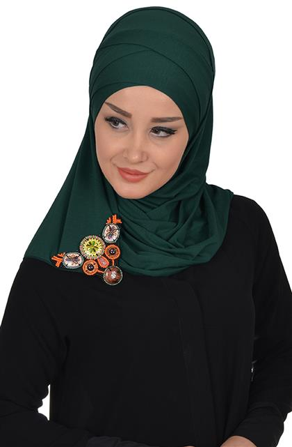 Ayşe TaYellowm Shawl-Koyu Green Cps-0034-14