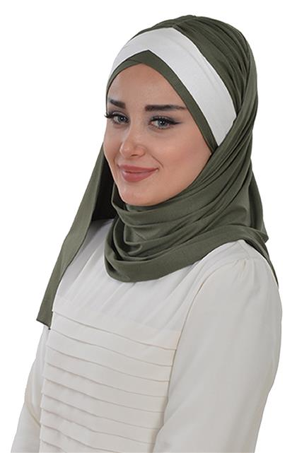 Ayşe TaYellowm Shawl-Khaki Green Cream Cps-0040-13-8
