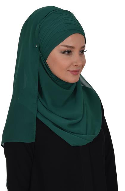 Ayşe TaYellowm Shawl-Koyu Green Cps-0062-12