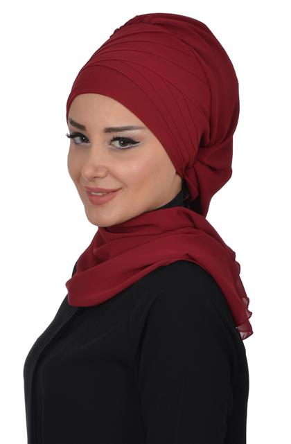 Ayşe TaYellowm Scarf-Claret Red Ht-0048-7
