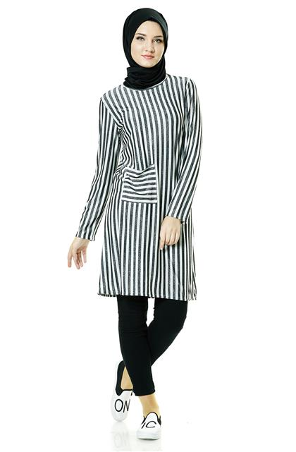 Tunik-Siyah Beyaz TK5063-0102