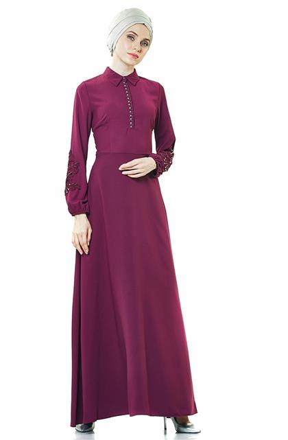 Güpür Detaylı Abiye Elbise-Mürdüm PN8145-51