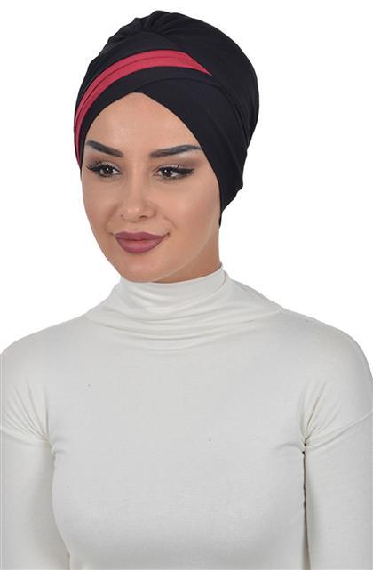 Bonnet-Black-Claret Red B-0023-6-3