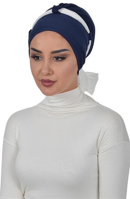 Bonnet-Navy Blue-Cream B-0024-1-22