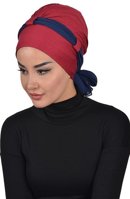 Bonnet-Claret Red-Navy Blue B-0024-3-23