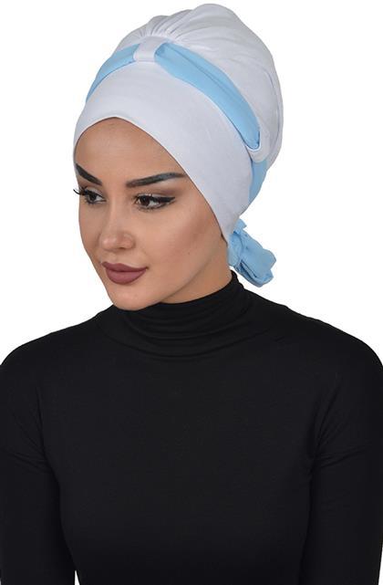 Bonnet-White-Bebe Blue B-0024-12-27