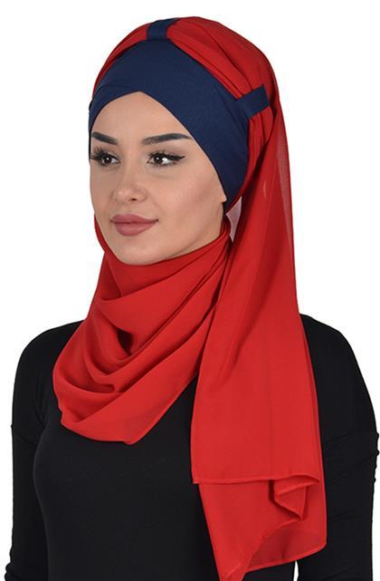 Penye Boneli Şifon Şal-Lacivert-Kırmızı Bs-0001-1-26