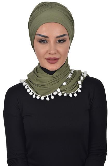 Bonnet Shawl-Khaki Green Bt-0002-13