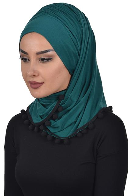 Bonnet Shawl-Dark Green Bt-0002-14