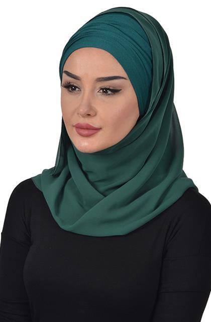 Penye Boneli Şifon Şal-Koyu Yeşil Bts-0001-12