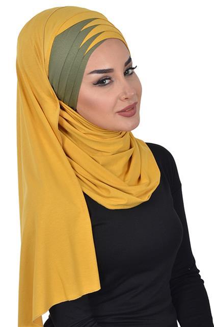 Shawl-Mustard-Khaki Green Cps-0049-11-13