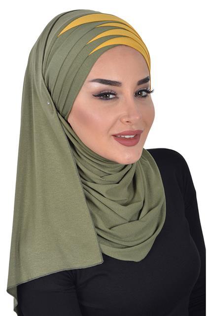 Shawl-Khaki Green-Mustard Cps-0049-13-11