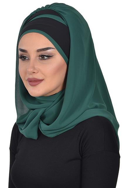 Shawl-Dark Green-Black Cps-0083-12-14