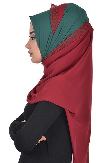 Shawl-Dark Green-Claret Red Ps-0023-12-7