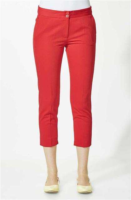 Bilekte Pantolon-Kırmızı 1682-34