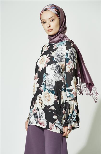Çiçek Desenli Bluz-Siyah 4191-1-01