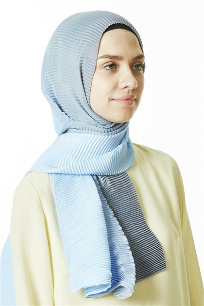 Shawl-06 Gray-Baby Blue