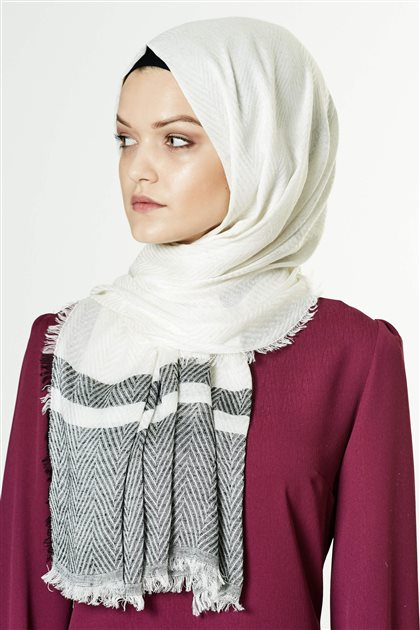 Armine Viscon Shawl 7991 Ecru-Black
