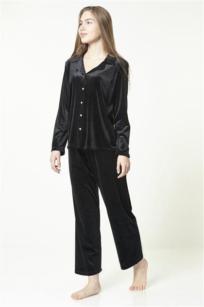Kadife Pijama Takımı 1012 Siyah