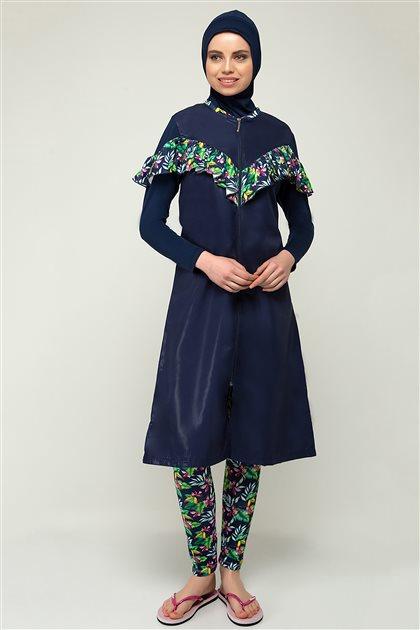 Pelin Covered Swimsuit-Navy Blue Green 1928-1721