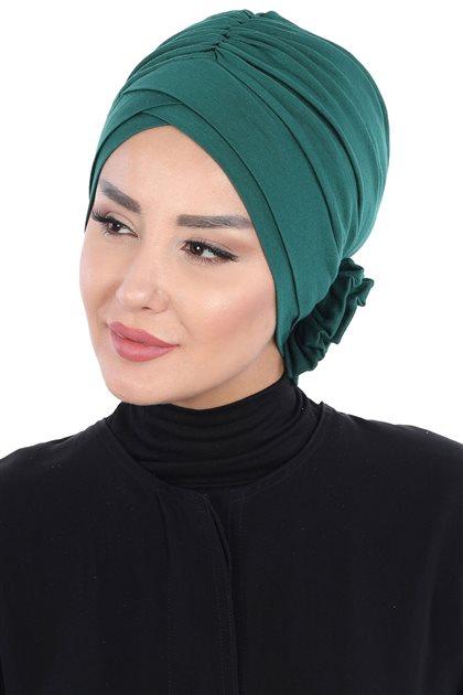 Ayşe Tasarim Bonnets-Dark Green B-0026-14