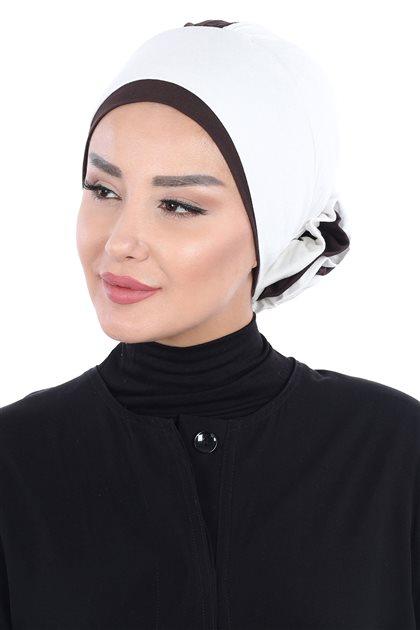 Ayşe Tasarim Bonnets-Cream-Brown B-0028-8-5