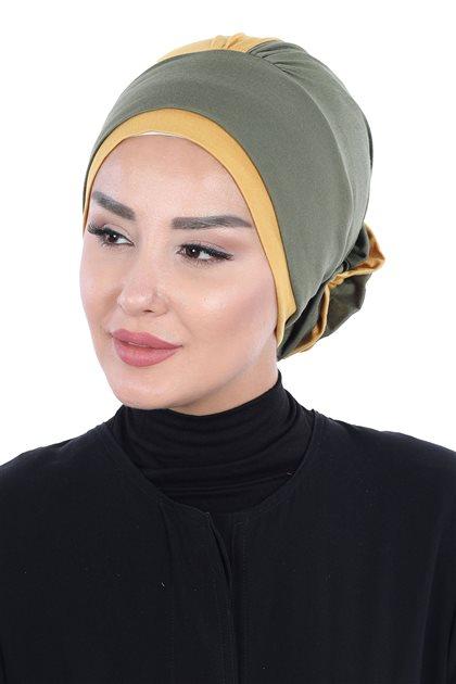 Ayşe Tasarim Bonnets-Khaki-Mustard B-0028-13-11