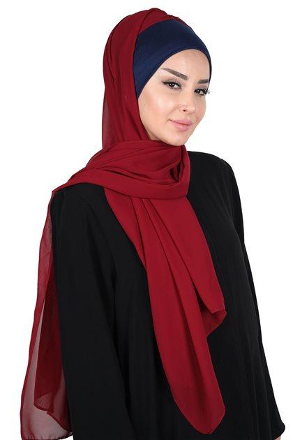 Ayşe Tasarim Shawl-Navy Blue-Claret Red BS-0002-1-7