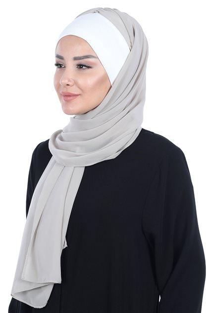 Ayşe Tasarim شال-كريمي-بني مينك BS-0002-8-4