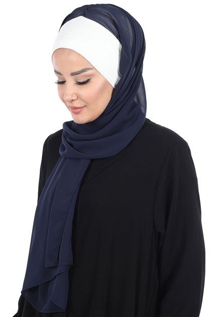 Ayşe Tasarim Shawl-Cream-Navy Blue BS-0002-8-23