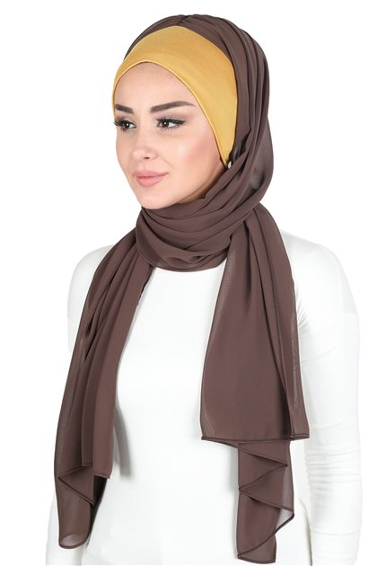 Ayşe Tasarim Shawl-Mustard-Brown BS-0002-11-6
