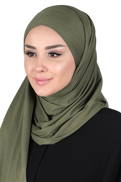 Ayşe Tasarim Shawl-Khaki Greeni CPS-0050-13