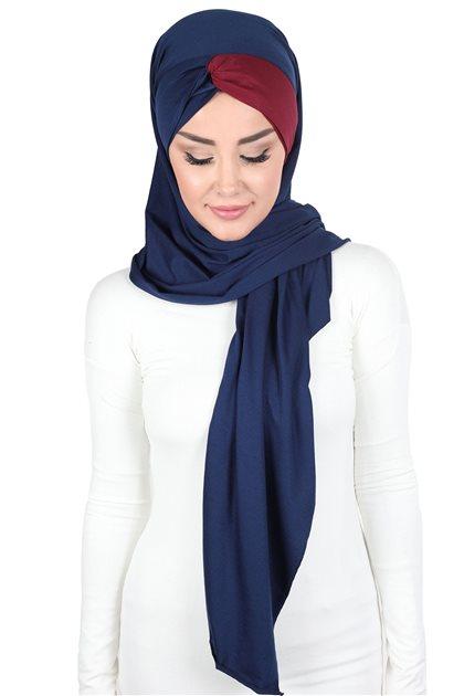 Ayşe Tasarim Shawl-Navy Blue-Claret Red CPS-0051-1-3