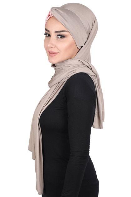 Ayşe Tasarim شال-بني مينك-لون البودرة CPS-0051-2-7