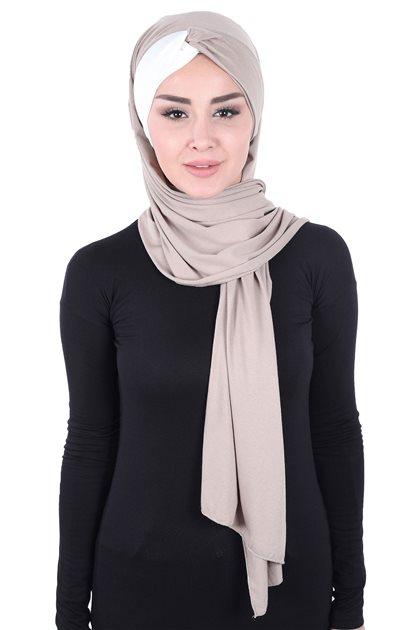 Ayşe Tasarim شال-بني مينك-كريمي CPS-0051-2-8