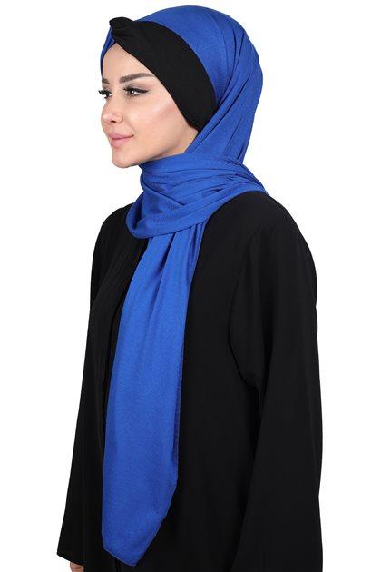 Ayşe Tasarim شال-أزرق غامق-أسود CPS-0051-4-6