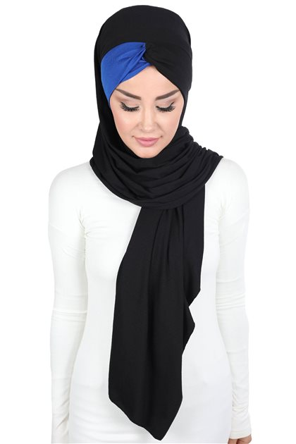 Ayşe Tasarim شال-أسود-أزرق غامق CPS-0051-6-4