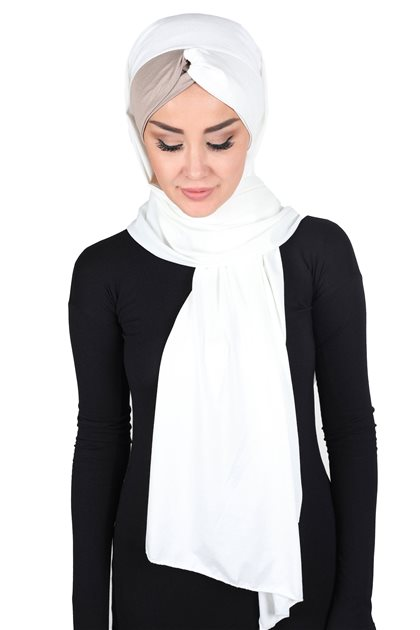 Ayşe Tasarim Shawl-Cream-Mink CPS-0051-8-2
