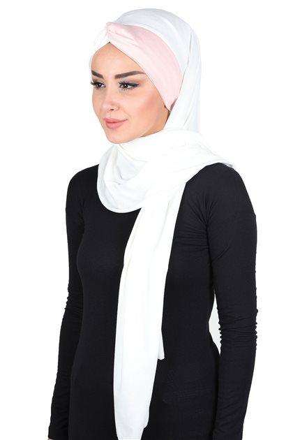 Ayşe Tasarim Shawl -Cream-Powder CPS-0051-8-7