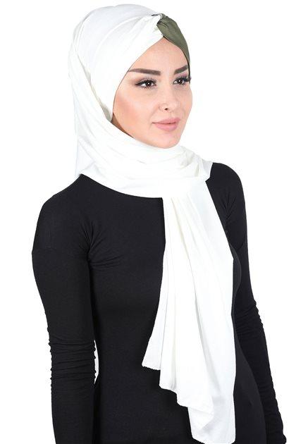 Ayşe Tasarim Shawl-Cream-Khaki CPS-0051-8-13