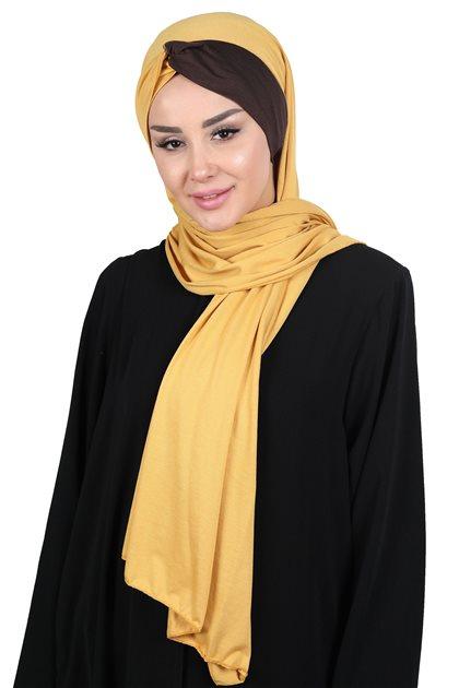 Ayşe Tasarim شال-خردل-بني CPS-0051-11-5