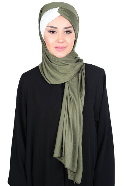 Ayşe Tasarim Shawl-Khaki Greeni-Cream CPS-0051-13-8