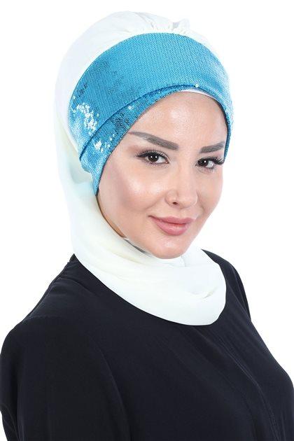 Ayşe Tasarim Scarf- White-Blue HT-0054-3-M