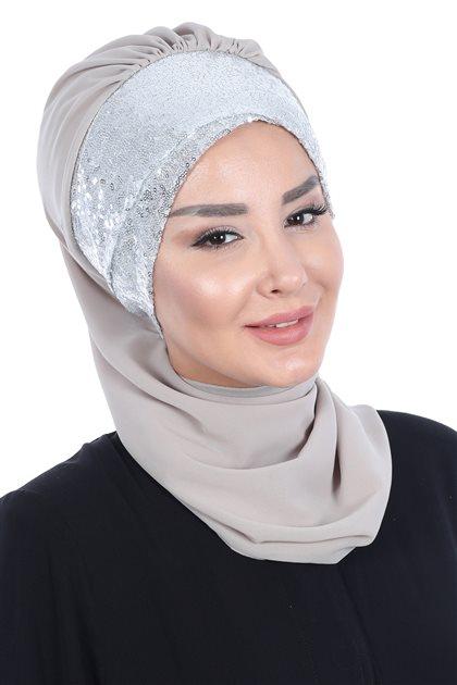 Ayşe Tasarim إيشارب-بني مينك- HT-0054-4-G