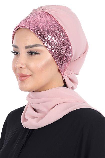 Ayşe Tasarim إيشارب-لون البودرة-لون البودرة HT-0054-11-P