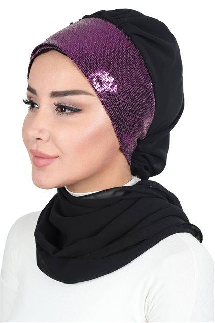 Ayşe Tasarim Scarf-Black-Fuchsia HT-0054-14-F